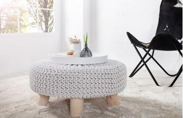 Designer Sitzhocker KNITTARD WHITE