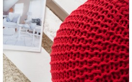 Designer Sitzhocker KNITTED RED