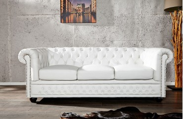 designersofa chesterfield 3er white bei nativo m bel schweiz. Black Bedroom Furniture Sets. Home Design Ideas