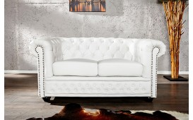 Sofa Garnitur CHESTERFIELD 2er WHITE