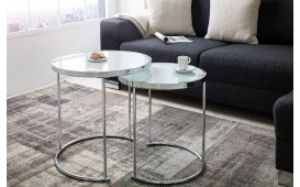 Table basse Design MOON SILVER 2er SET