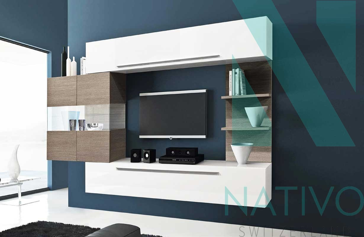 meuble tv fixe au mur meubles de design d 39 inspiration pour la t l vision et d. Black Bedroom Furniture Sets. Home Design Ideas