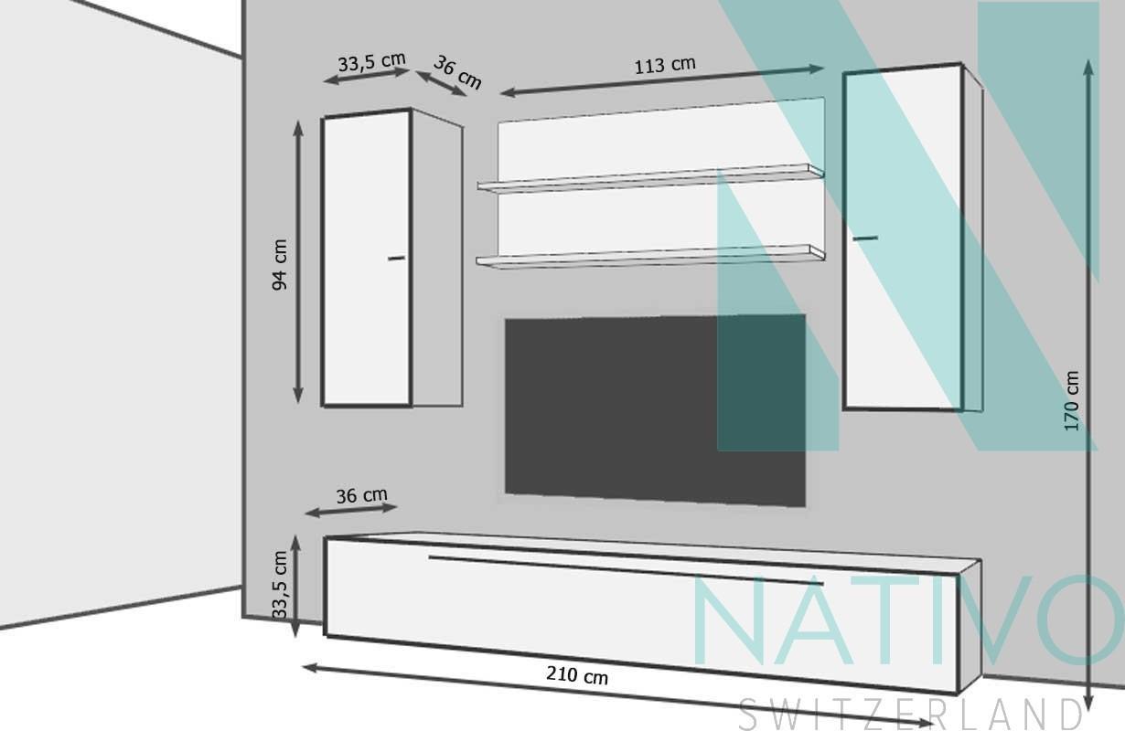 meubles pour salon nativo meuble tv mural bari. Black Bedroom Furniture Sets. Home Design Ideas