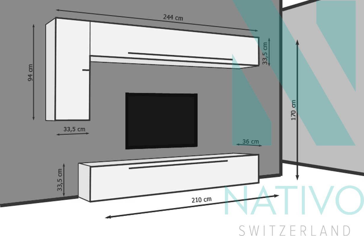 Meubles Pour Salon Nativo Meuble Tv Mural Lazio # Meuble Pour Tv Mural