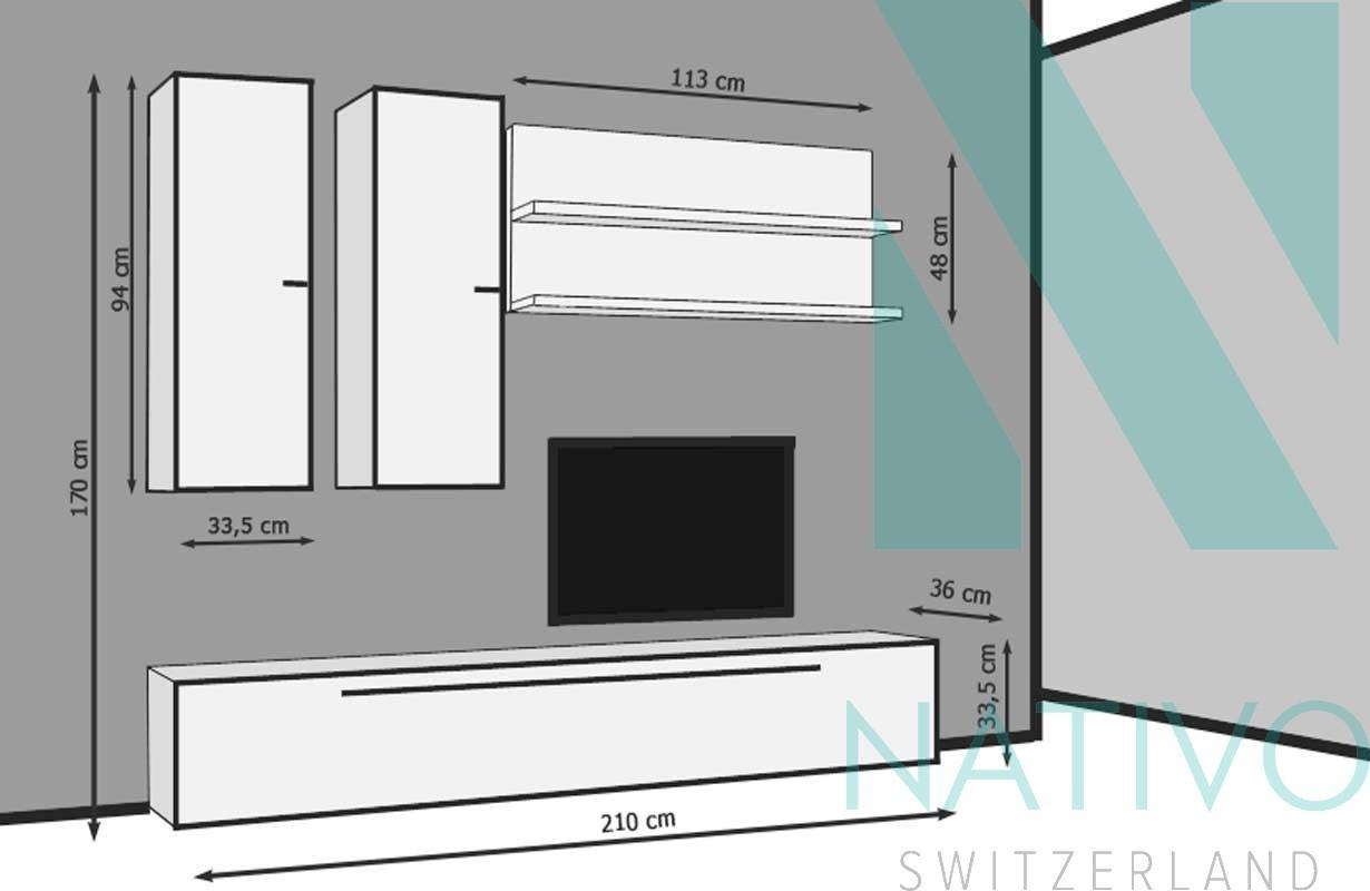 Meubles Pour Salon Nativo Meuble Tv Mural Catanzaro # Meubles Muraux