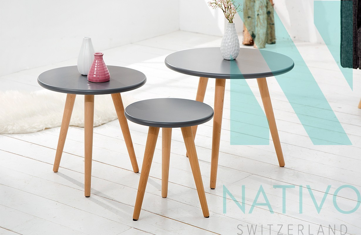 designer beistelltisch man 3er set graphit bei nativo. Black Bedroom Furniture Sets. Home Design Ideas