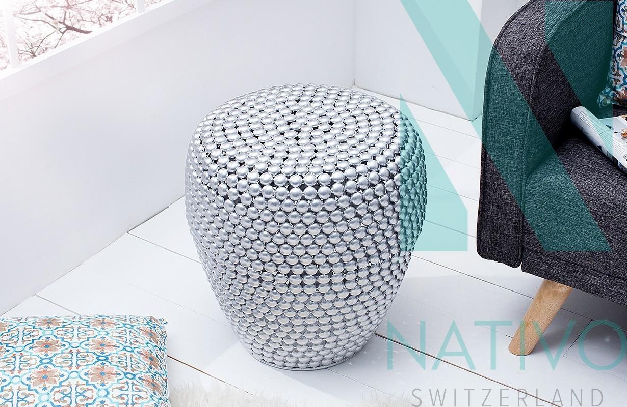 Designer beistelltisch la perla silver bei nativo m bel for Exklusive beistelltische