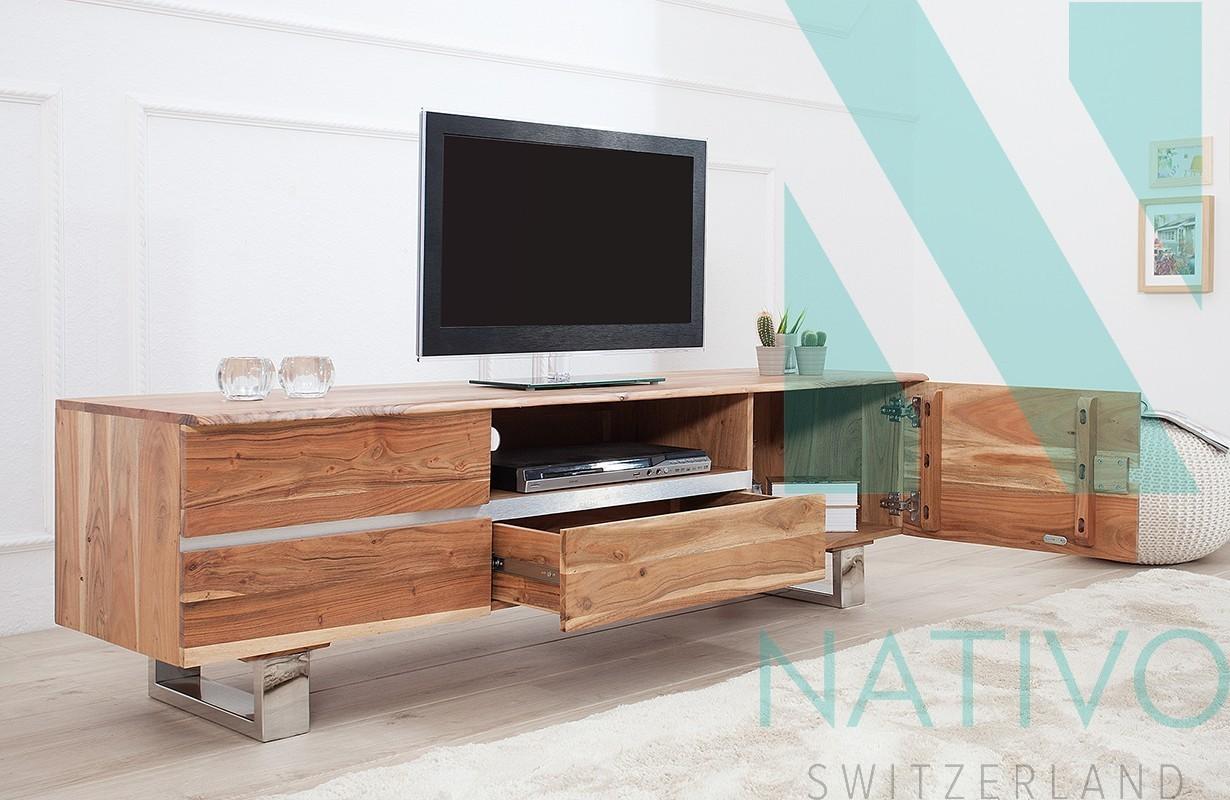 Meuble Tv Design Taurus Akazia Nativo Meuble Rangement # Rangement Meuble Tv