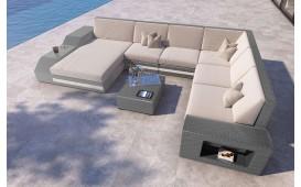 Designer Rattan Lounge Sofa TORRO XXL mit LED Beleuchtung von NATIVO Möbel Schweiz