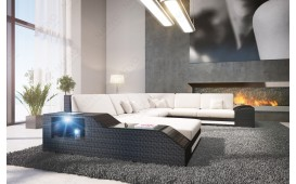 Canapé Lounge en rotin TORRO XXL avec éclairage LED