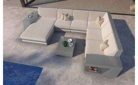 Canapé Lounge en rotin CAREZZA XXL avec éclairage LED