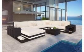 Designer Rattan Lounge Sofa CAREZZA XXL mit LED Beleuchtung