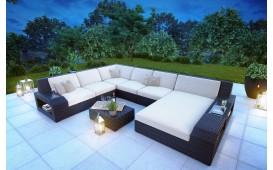 XXL Designer Rattan Lounge Sofa RONALD mit LED Beleuchtung