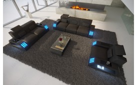 Designer Sofa CLERMONT 3+2+1 mit LED Beleuchtung