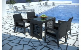 Set da pranzo Lounge in rattan LUNA giardino (5 pezzi) V1
