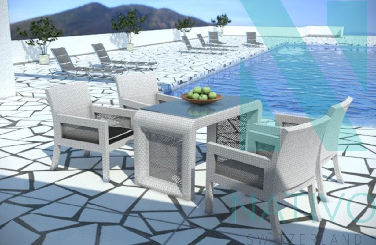 Completo da pranzo rattan luna v2 nativo mobili di design for Mobili di design in rattan