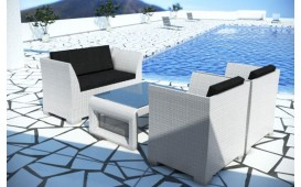 Salon Lounge en rotin CHICO jardin (4 pièces) V2