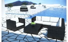 Rattan Lounge BARCELONA Eckcouch und Couchtisch  v1
