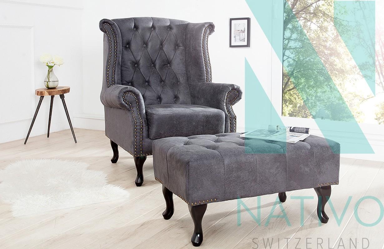 Chesterfield Relax Fauteuils.Fauteuils Vente Suisse Fauteuil Design Chesterfield Grey