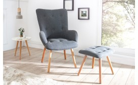 Designer Lounge Sessel MAN GREY SET mit Hocker