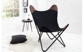 Designer Lounge Sessel ASTRA Leinen BLACK
