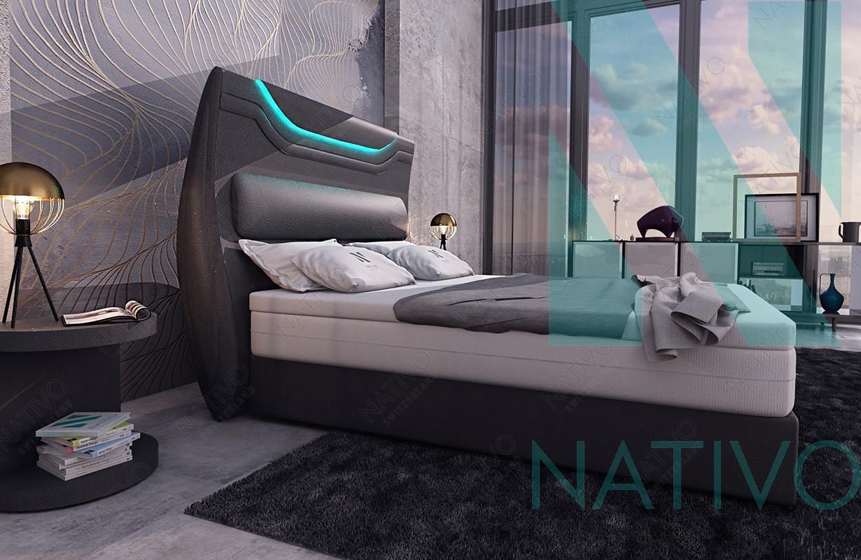 designer boxspringbett wien in leder inkl topper nativo schweiz. Black Bedroom Furniture Sets. Home Design Ideas