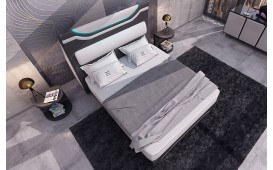 Letto Boxspring WIEN in pelle con Topper e presa USB