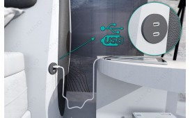 Boxspringbett WIEN in Leder inkl. Topper & USB Anschluss