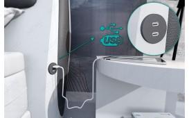 Lit boxspring WIEN en cuir avec topper & port USB