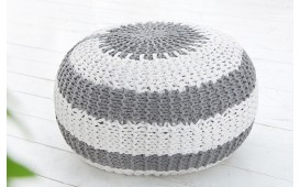 Designer Sitzhocker KNITTED GREY WHITE