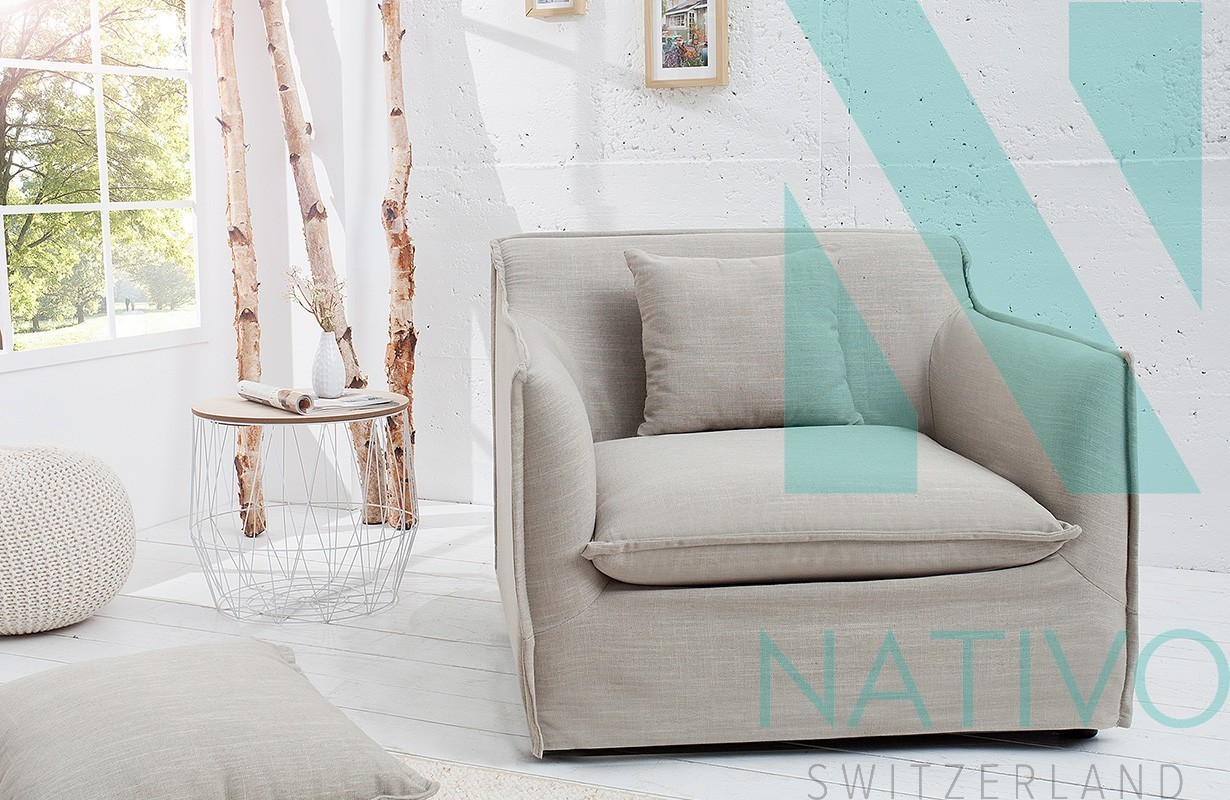 Fauteuil havan beige nativo magasin mobilier design suisse salon - Fauteuil relax beige ...