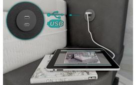 Lit boxspring FRANKFURT en cuir avec topper & port USB