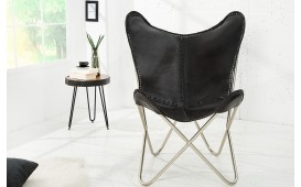 Designer Lounge Sessel ASTRA Leder BLACK