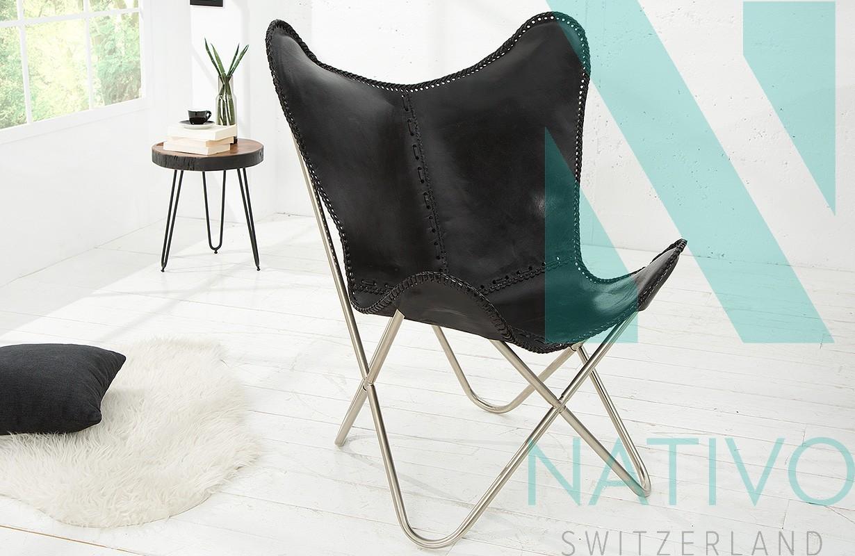 lounge sessel astra leder black bei nativo m bel schweiz. Black Bedroom Furniture Sets. Home Design Ideas