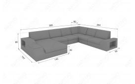 Designer Rattan Lounge Sofa TORRO XXL mit LED Beleuchtung