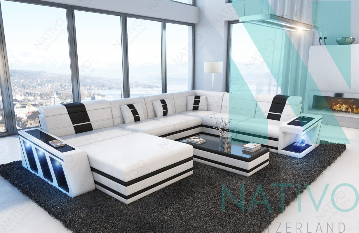 modernes ledersofa carezza xxl bei nativo m bel schweiz g nstig kaufen. Black Bedroom Furniture Sets. Home Design Ideas