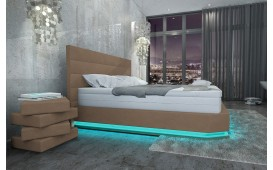 Letto Boxspring PARIS in pelle con Topper e presa USB