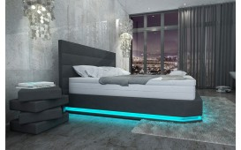 Lit boxspring PARIS en cuir avec topper & port USB
