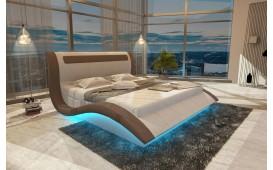Designer Lederbett AMSTERDAM inkl. LED Beleuchtung & USB Anschluss
