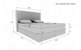 Boxspringbett ROMA in Leder inkl. Topper & USB Anschluss