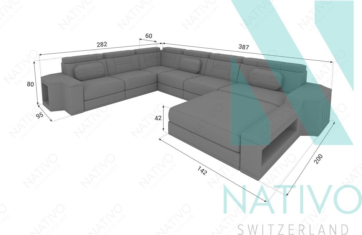 Designer Ledersofa CESARO XXL im NATIVO Möbel Online Shop bestellen