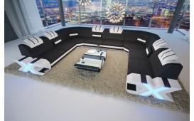 Designer Sofa MYSTIQUE CORNER U FORM mit LED Beleuchtung & USB Anschluss