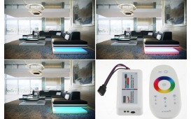 Canapé Design ROUGE CORNER avec éclairage LED & port USB