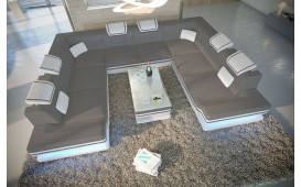 Canapé Design ROUGE CORNER U FORM avec éclairage LED & port USB