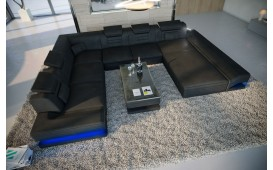 Canapé Design ROUGE XXL avec éclairage LED & port USB