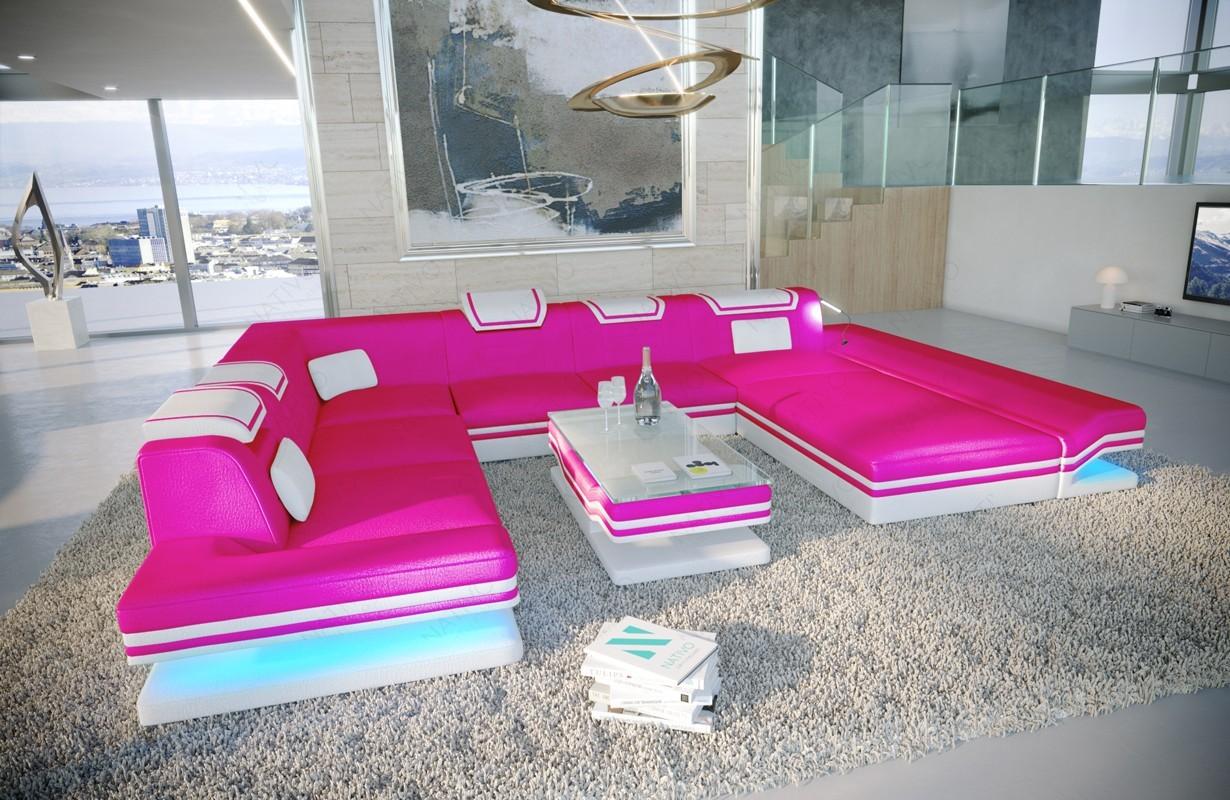 nativo meuble canap rouge xxl avec clairage led et port usb. Black Bedroom Furniture Sets. Home Design Ideas