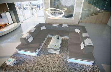 Canapé Design ROUGE CORNER U FORM avec éclairage LED & port USB NATIVO™ meubles France