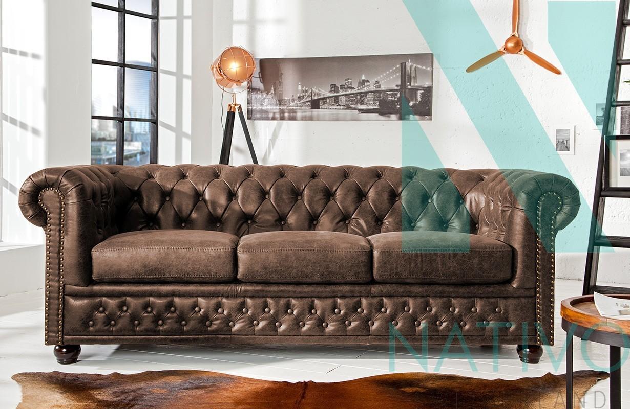 canap design chesterfield vintage 3 places nativo meubles salon. Black Bedroom Furniture Sets. Home Design Ideas