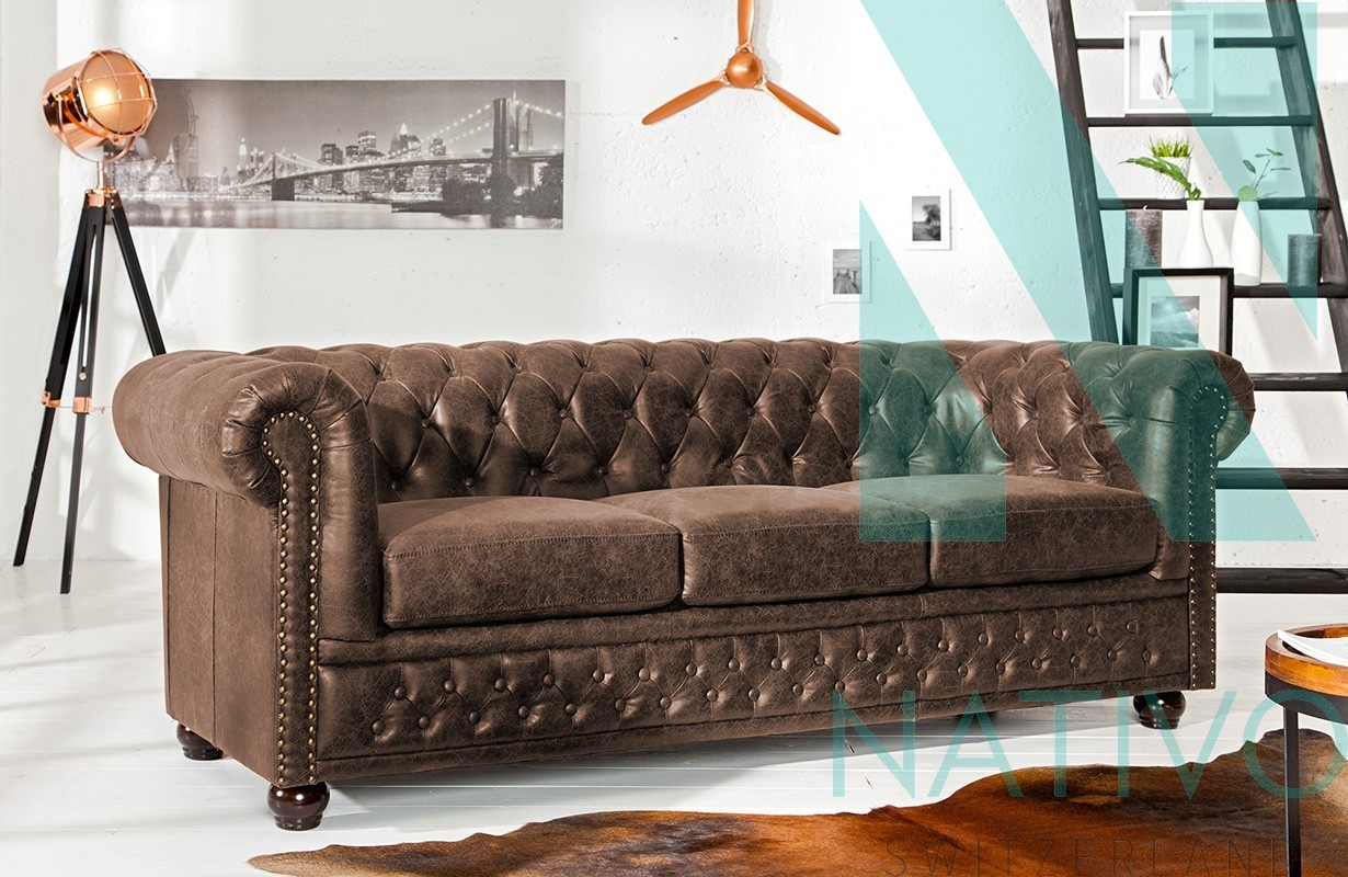 canap design chesterfield vintage 3 places nativo meubles salon. Black Bedroom Furniture Sets. Home Design Ideas