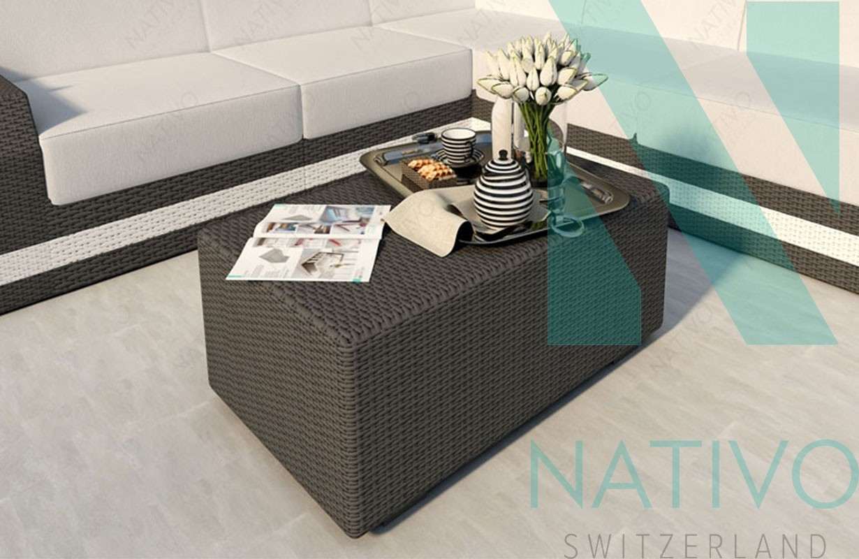 Table basse en rotin mesia nativo meubles jardin - Mobilier de france table basse ...